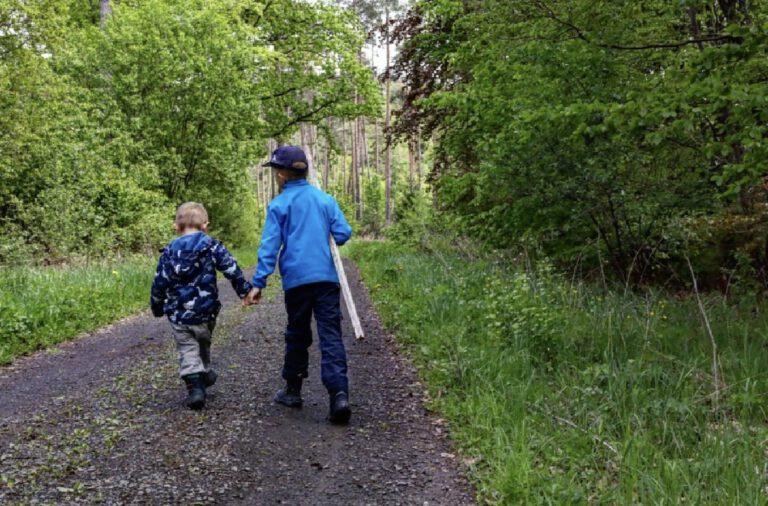 2 Kinder die sich an der Hand halten und durch einen Wald spazieren.