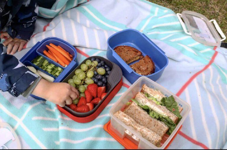 Ein buntes Picknick mit Gemüse und Sandwiches.