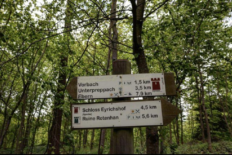 Ein Wegweiser im Wald.