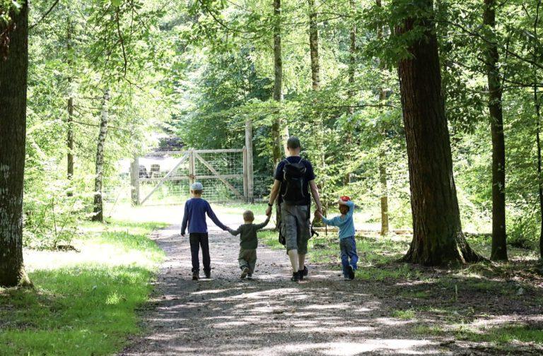 Links läuft mein Großer, an de Hand hat er seinen jüngsten Bruder, der wiederum an der Hand vom Papa ist, der mit der anderen Hand den Mittleren hält.