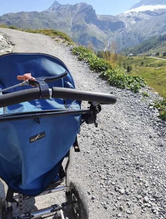 Ein blauer Kinderwagen in den Bergen.