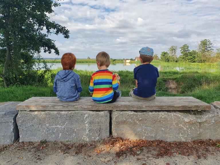 3 Kinder sitzen auf einer Steinbank und schauen in Richtung Weiher.