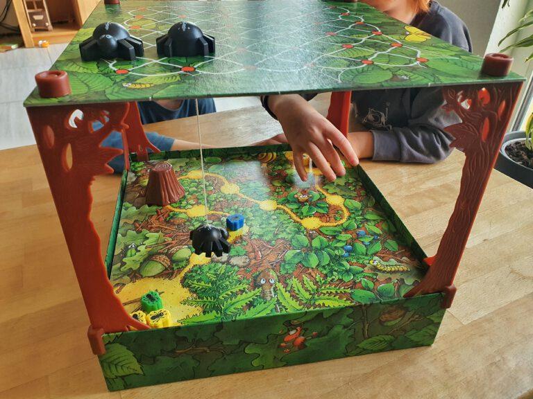 Ein Tischspiel bestehend aus zwei Ebenen. Oben sind zwei Spinnen, unten Ameisen.