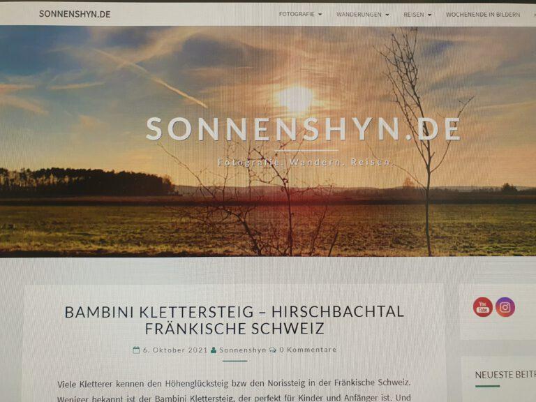 """Eine Website mit der Aufschrift """"sonnenshyn.de"""""""