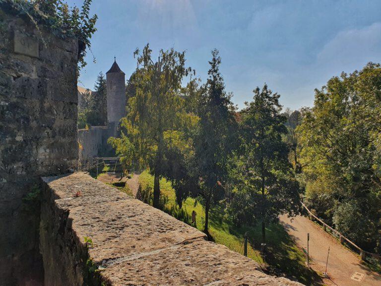 Eine alte Burgmauer im Vordergrund. Ein paar Bäume und ein Turm im Hintergrund.