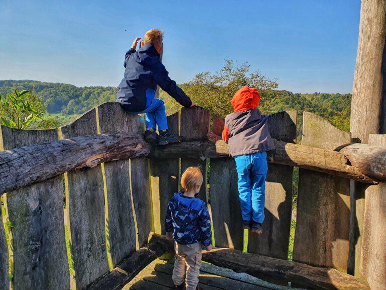 3 Kinder auf einem Holzplateau die in die Ferne schauen.