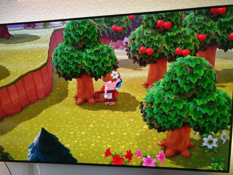 Ein Fernseher auf dem das Speil Animal Crossing zu sehen ist.